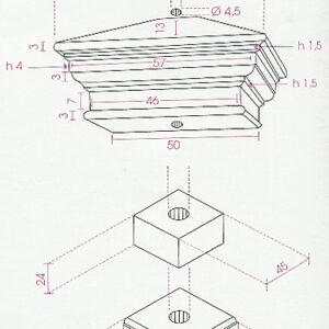 Pfeiler Pilastro Liscio Explosionszeichnung - Art.814