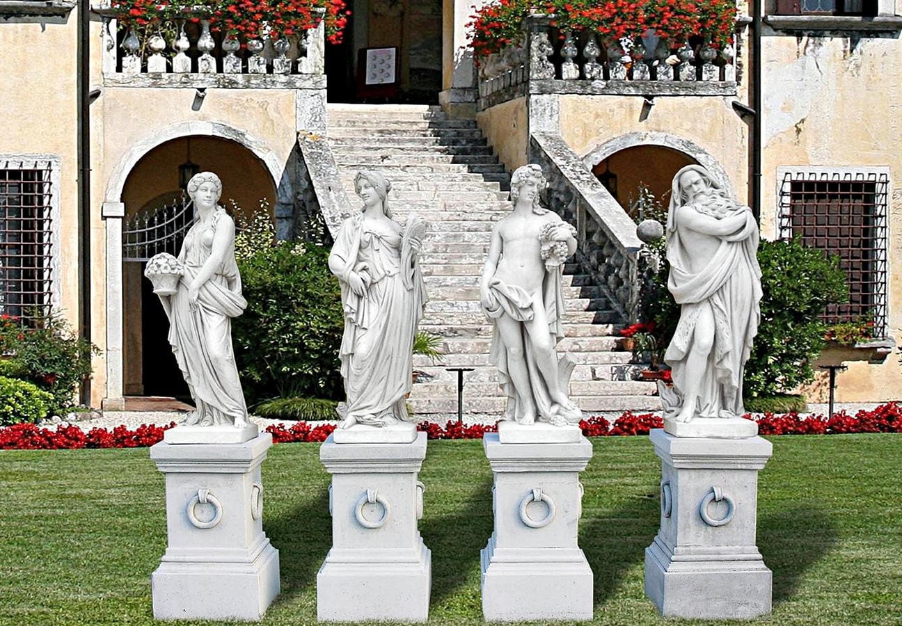 Vier Jahreszeiten Statuen + Sockel Set