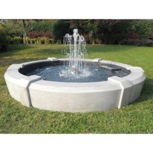 Springbrunnen mit Edelstahlkugel Neptun Art.2270 Höhe 120cm Ø 185 cm Preis inkl. Edelstahlkugel Pumpe 3.499,- € Gartenspringbrunnen